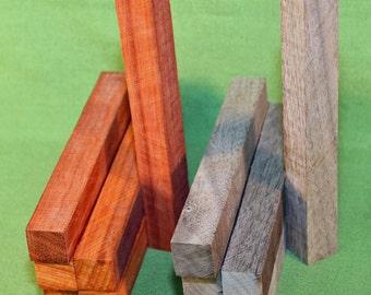 """Pen Turning Blanks - Lot of 12, Padauk & Black Walnut -  3/4"""" x 3/4"""" x 6 1/4"""" - FREE SHIPPING  - Item #319"""