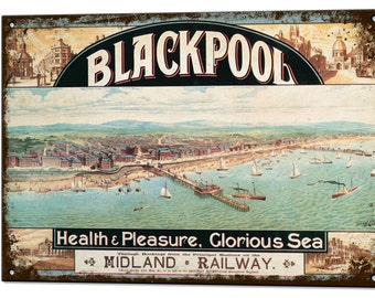 Blackpool Vintage Metal Sign Retro Tin Plaque Holiday