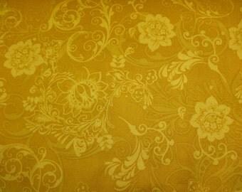 Quilting Treasures Masquerade-Phantom Yellow w/Flowers Fabric 403