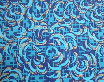 Blank Quilting Teal & Gold Clouds Pattern fabric  24