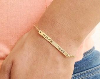 Nameplate bracelet - personalized bar bracelet - gold nameplate bracelet - custom bar bracelet - gold filled bracelet B016