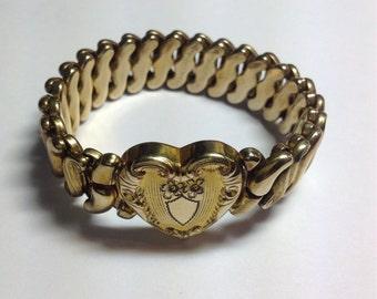 Vintage Gold Filled Art Deco Heart Expansion Bracelet