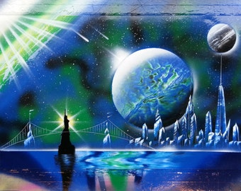 NEW YORK CITY - Spray Paint Art -  Space Painting