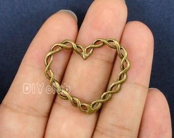 15pcs of Antique Bronze Heart Charm pendants 33x29mm
