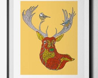 Autumn Woodland digital print from an original hand drawn illustration