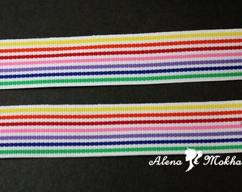 """5 yards 7/8"""" Candy Colorful Rainbow Stripes Woven Grosgrain Ribbon"""