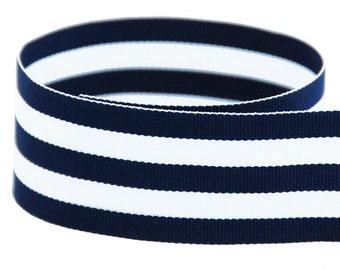 """5  yards 7/8"""" Navy White Stripes Woven Grosgrain Ribbon"""