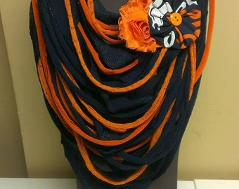 Denver Broncos Shredded Scarf w/Accent Flower