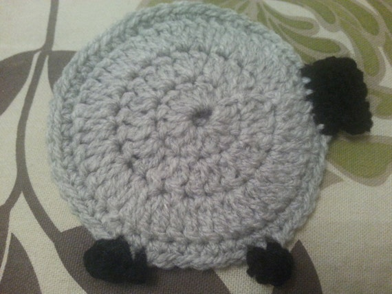 Items Similar To A Pair Of Crochet Sheep Coasters Made Out
