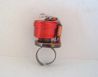 Capacitor and resistor ring geek chic red coils