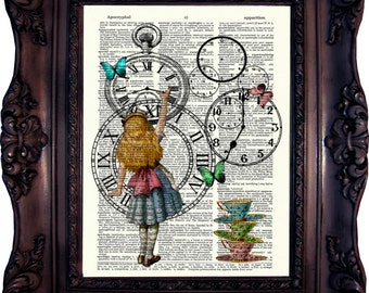 Alice in wonderland Decoration. Tea Time. Clock. Dictionary art print. Alice Art Print. Tea Time. Alice print on book page.  Code:031