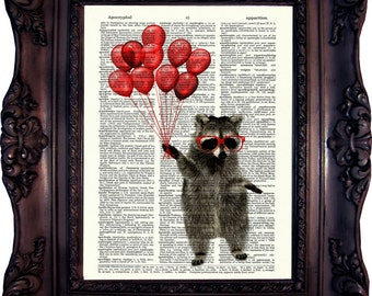 Raccoon Art Print on Vintage Book Page /Antique Dictionary Page. Raccoon with Balloons. Raccoon print. Art print. Book Page. Code: 338