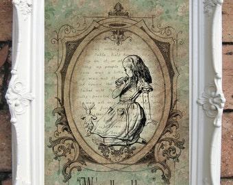 ALICE in Wonderland Art Print. Shabby Chic Decor. Vintage Alice Wall Art. Alice in Wonderland Decoration. Alice Print. Alice decor. C:A013