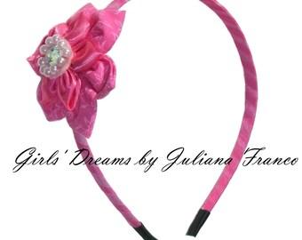 Girls headband, Baby headband, Pink Flower Headband, Flower headband, Toddler headband, Kids headband