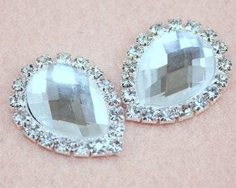 Teardrop Clear Rhinestones,High Quality Bulk Glass Embellishments,Flat Back Craft Blings,Wedding DIY,Hair Accessory, Jewelry Findings