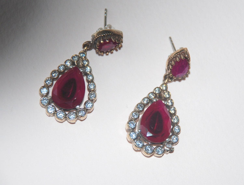 turkish jewelry ruby gemstone white clear zirconia