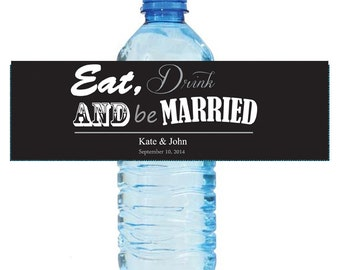 Contemporary Wedding Water Bottle Labels Great for Engagement Bridal Shower