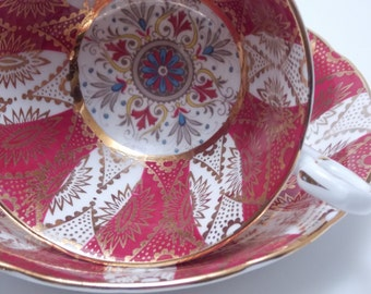 Paragon Vintage Fine Bone China Tea Cup and Saucer Gold Red