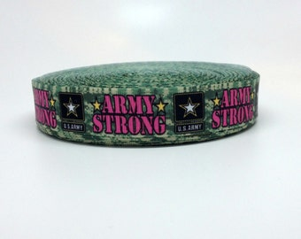 7/8 Camo and Pink Army Strong Grosgrain Ribbon
