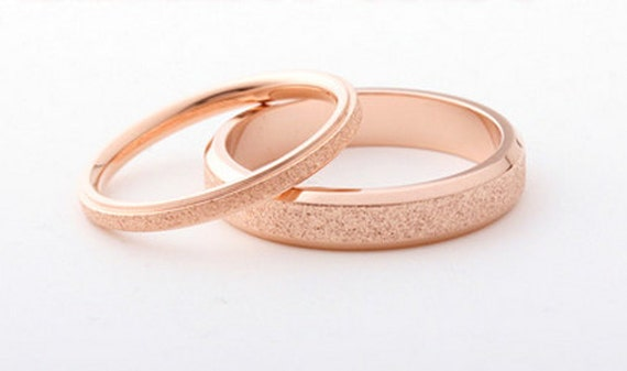 Goldring ehering  Mattiert 18 K Rose Gold Ring dünn
