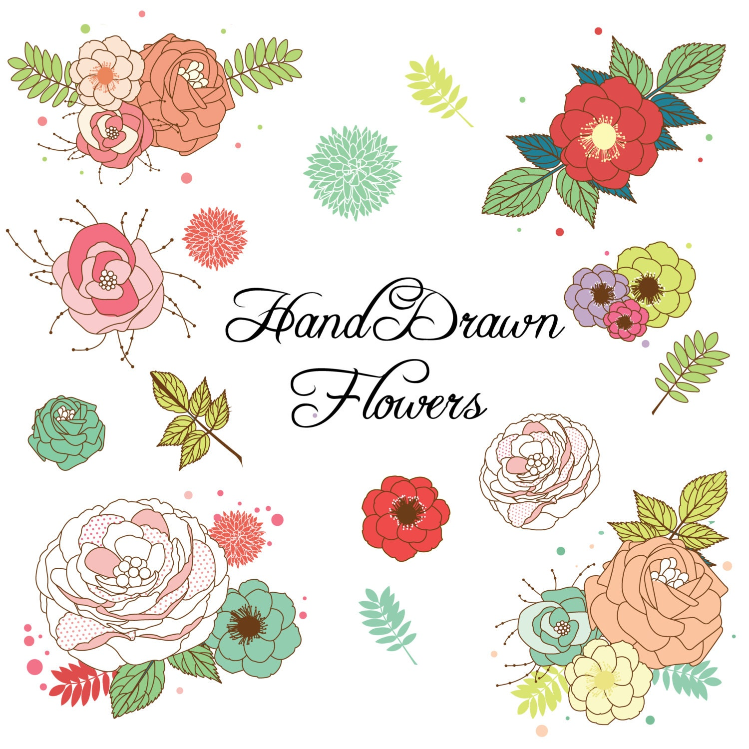 Limited Time Wedding Floral Clipart Flower Clipart Scrapbook