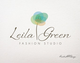Fashion Logo Design, Photography logo, Premade logo, Boutique logo, Elegant logo, Tree logo, blue logo,Watermark 113