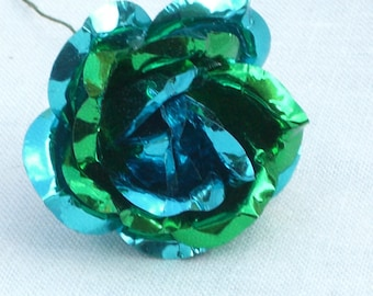 Ornaments - Foil Roses Decoration - Blue and Green - 6 Roses - Vintage