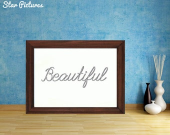 Beautiful word print. Wall art decor. Printable art. Silver lettering with the word Beautiful.