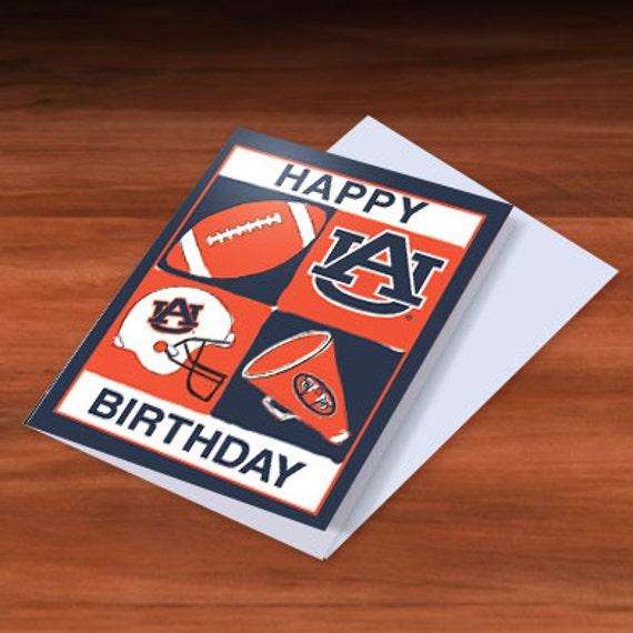 Auburn Tigers Football Happy Birthday Greeting Card Authentic