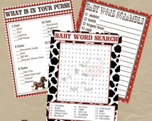 COWBOY Baby Shower Game Pack - Instant Download