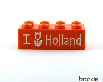 LEGO® brick with I Love Holland engraved personalized