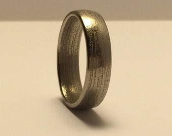 6 mm Mens Nickel Coated Steel Wedding Band with Comfort Fit, Rustic Looking Wedding Ring in Tough Steel, Mens Band in Classic Design