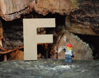 """Unfinished 4"""" wooden letter -- letter """"F""""-- Arial font -- 1/4"""" thick medium-density fiberboard -- wedding, birthday prop -- nursery craft"""