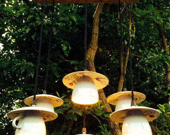 Vintage Upcycled Tea Cup Pendant Chandelier Ceiling Light