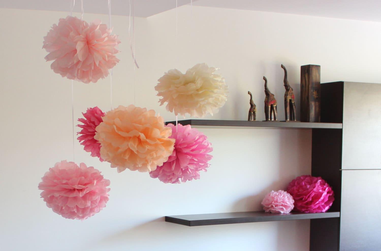 Tissue Paper Flowers Set Of 32 Pastel Pallete Hanging Flowers