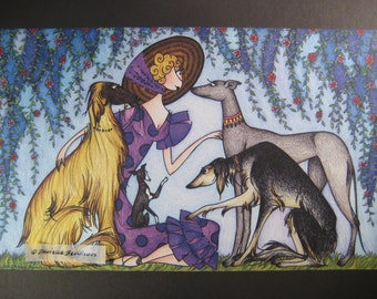 Four Sighthounds - Signed Greyhound, Afghan, Saluki Print