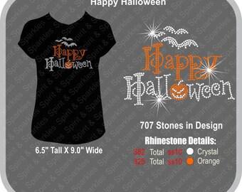 Happy Halloween Rhinestone T-Shirt, Tank or Hoodie