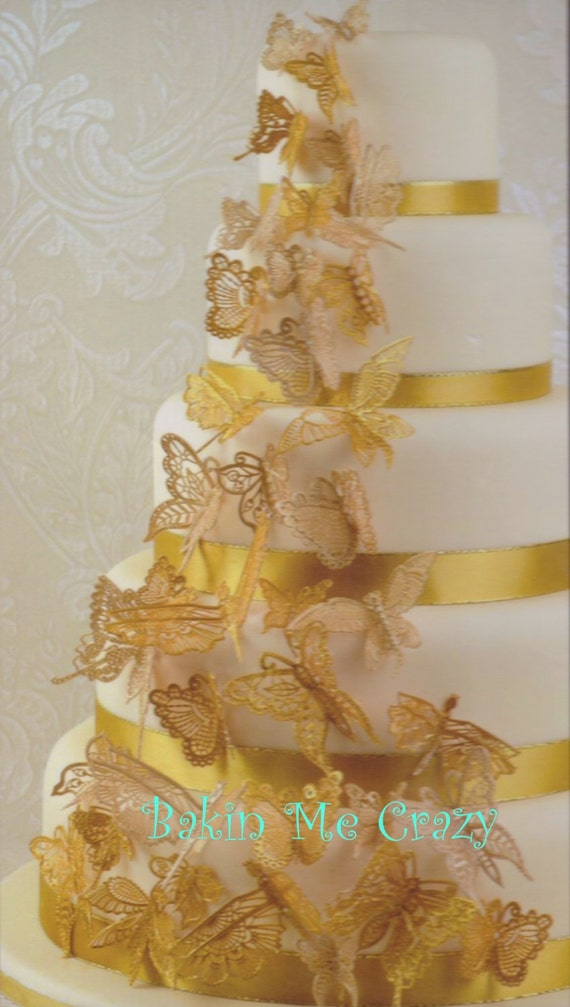 24 Edible Cake Lace 3D Butterflies for Weddings Anniversary