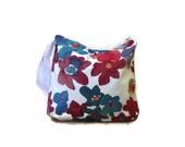 Sale/ Flowers canvas crossbody canvas tote bag red bordeux navy teal flowers shoulder bag adjustable strap