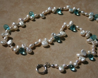 Keishi White Pearl Blue Quartz Briolette Necklace