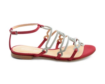 Flat sandal jewel - Red satin Royal
