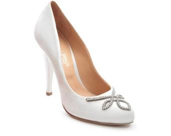 Shoe satin jewellery with Swarovski - white rhinestones