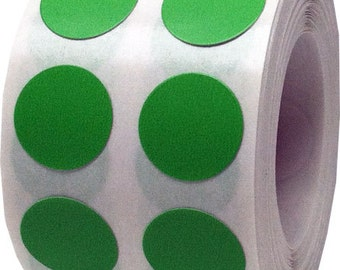 "1,000 Light Green Dot Stickers - Small 1/2"" Inch Round Adhesive Labels/Roll"