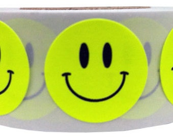 500 Fluorescent Yellow Smiley Happy Face Stickers - 0.75 Inch Round