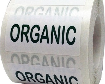 "Organic Stickers - .75 x 1.5"" Rectangle Adhesive Labels - 500 Per Roll"