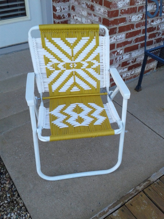 macrame lawn chair patterns items similar to handmade macrame lawn chair in yellow and 9719