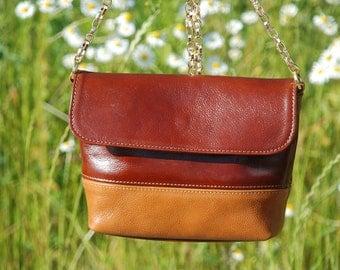 Small Brown Leather Shoulder Bag, Handmade Leather Bag, Shoulder chain bag – brown and camel color