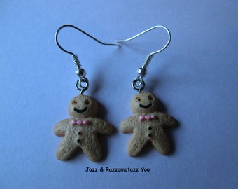 Handcrafted Gingerbread Man/Men Earrings