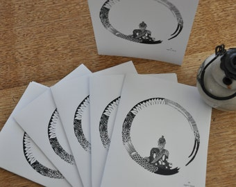 buddha in zen circle - pack of six cards