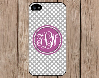 iPhone 6 case, iPhone 6 plus case, iPhone 5c case, iPhone 5s case Samsung Galaxy S5 S4 Note 4 3 2 Personalized Monogram Grey Polka Dot M073